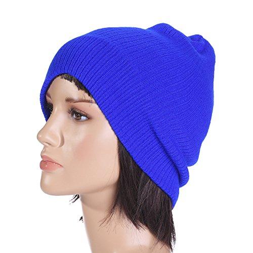 Surker Chapeau d'hiver en tricot Beanie Collection Automne / Hiver bleu royal