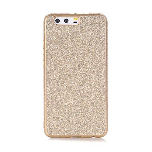 Huawei P10 Plus Hülle, WindTeco Weich TPU Silikon Glitzer Schutzhülle Bling Handyhülle Protective Case Cover für Huawei P10 Plus, Gold
