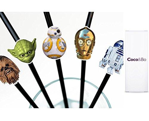 10 x Coco & Bo - Star Wars Helden Party Strohhalme - BB8 R2D2 C3PO Yoda und Chewbacca Thema Party Dekorationen & Kuchen Zubehör (Yoda Party Supplies)