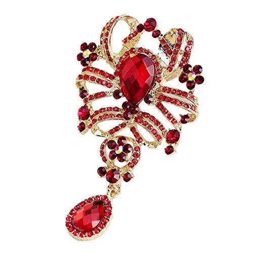 Yazilind Fashion Blätter Hohle eingelegte Rhinestones Legierung Zirconia Anhänger Brosche Frauen Mädchen Zubehör (rot)