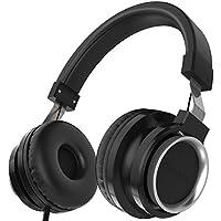 Chououkiu Over-Ear Headphones Estéreo con Cable Ligero Diadema Portátil Ajustable Auriculares con Micrófono para iPhone iPad Android Smartphones Tablet Portátil para niños o Adultos (Negro)