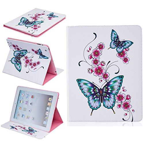 JIan Ying Funda para iPad 2, iPad 3 y iPad 4 de acabado en piel sintética de alta calidad , diseños de moda Butterfly flower