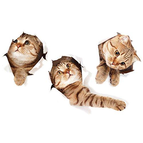 3D Katzen Aufkleber, Katze Formen Wand Sticker 3D Dekorative Wand Aufkleber für Kinderzimmer Auto Badezimmer Küche Wohnzimmer Kinder Schlafzimmer Esszimmer Büro (Dekorative Katze)
