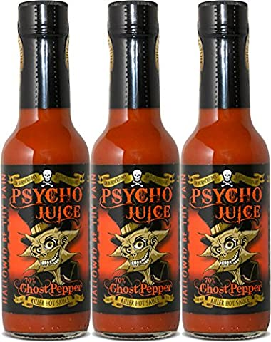 Psycho Juice Hot Chili-Sauce 70% Ghost Pepper (Pack of 3)