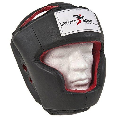 Precision Training da boxe in pelle Full Face Casco Protezione RRP 48, nero/rosso