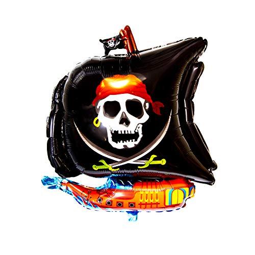 Oblique Unique® Piraten Schiff Folien Luftballon für Kindergeburtstag Piraten Motto Party Feier Deko Ballon Folienballon mit Totenkopf Pirat Boot