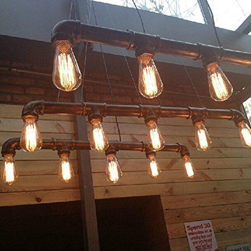 Lightess Retro Klassische Wasserrohr Geformt Hängelampe Industrie rétro Rustic Steampunk Metallwasserrohr Retro Decke hängende 5 Lichter Edison-Lampe Kronleuchter, Schwarz -