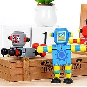 UChic 3 STÜCKE Spaß Kreative Multifunktionale Farbe Holzspielzeug Variety Transition Robot Educationa Spielzeug Transformer Roboter Gelegentliche Stil