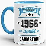 Tassendruck Geburtstags-Tasse Geboren 1966 Eine Legende aus Darmstadt Innen & Henkel Hellblau/Geschenk/mit Spruch/Mug/Cup/Becher/Qualität Made in Germany