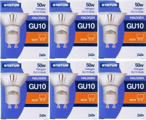 50-W-Halogenlampen mit G-10-Fassung von Status, dimmbare Strahler, 240-V-Netzspannung, Abstrahlwinkel von 36 Grad, 6 Stück -