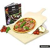 #Benehacks, Piedra Pizza ideal para Horno y Parrilla - Hornea Pizza, Pan y pasteles - Set de tres piezas incluye: Recetario y Paleta de madera de pino