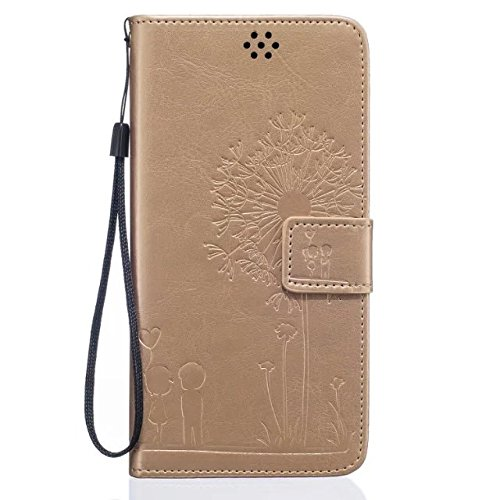 iPhone Case Cover IPhone 6 6S Case, de haute qualité Premium PU Housse en cuir Couverture Solid Dandelion Embossing Wallet Stand Housse pour iPhone 6 6S ( Color : Brown , Size : IPhone 6 6S ) Gold