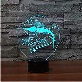 7 Cambio de color de pesca 3D llevó la lámpara Usb de carga peces 3D Luz de la noche Botón táctil Lámparas de mesa de control remoto para el amigo amigo regalo