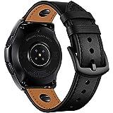 Aottom 22mm Bracelet Homme Cuir Bande Compatible avec Montre Samsung Gear S3 Frontier,Bracelet Galaxy Watch 46mm Band pour Am