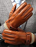 Leder Handschuhe Herren Winter FULL-HAND Touchscreen Thermofutter Geschenkverpackung Smartphone Fahrradhandschuhe Männer Motorradhandschuhe Baumwolle,Hell Braun,S