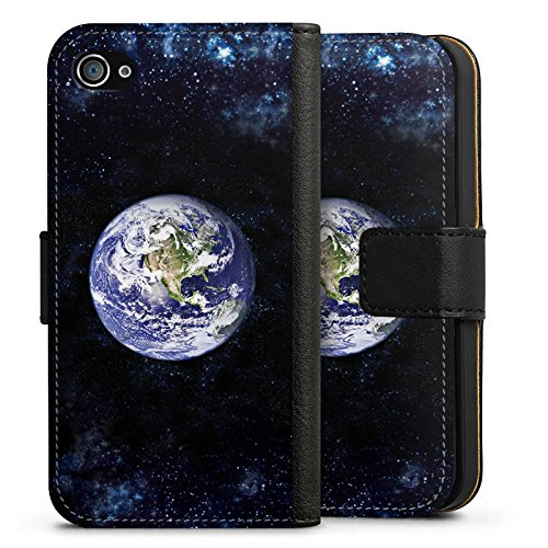 Apple iPhone X Silikon Hülle Case Schutzhülle Erde Earth World Sideflip Tasche schwarz