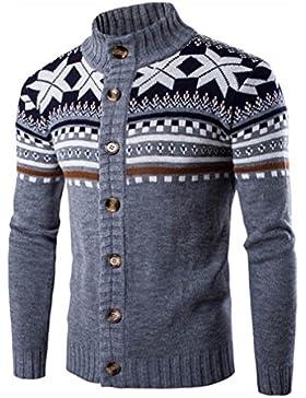 Casual Manga Larga Cárdigans para Hombre, Honghu Ocio Largo Botones Sweater Outwear Gris XL