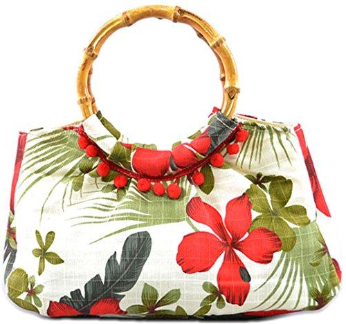 Küstenluder Damen Tasche Alexis Hibiscus Bamboo Bag (Dunkelbraun mit grün-orangen Blüten) Cremefarben mit roten Hibiskusblüten