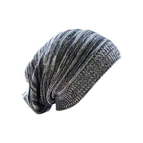 Longra Unisex stricken ausgebeulten Mütze Barett Winter warm überdimensionalen Kappe Strickmützen (Schwarz) (Boxer Stricken)