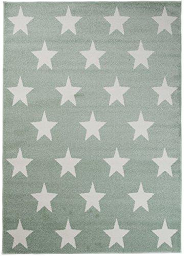 Teppich Kinderzimmer Jungen - Kinder Jugendzimmer Wohnzimmer - Sternendesign Star Muster - Pastellfarben