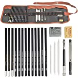 OFNMY 21pcs Sketching Pencil Set Drawing Pencil Kit Included Graphite Pencils, Charcoal Pencils, Paper Erasable Pen, Eraser, Craft Knife-Lightwish for Students, Beginners, Artists