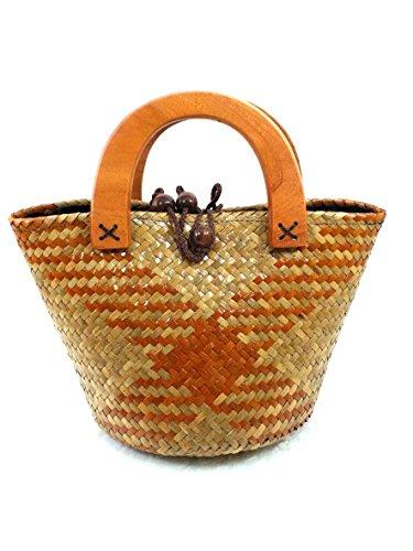 handgeflochtenem Stroh GroßE Hobo Tasche für Frauen, rund Griff Tote Retro Sommer Strand Tasche mit Handgefertigt Décor