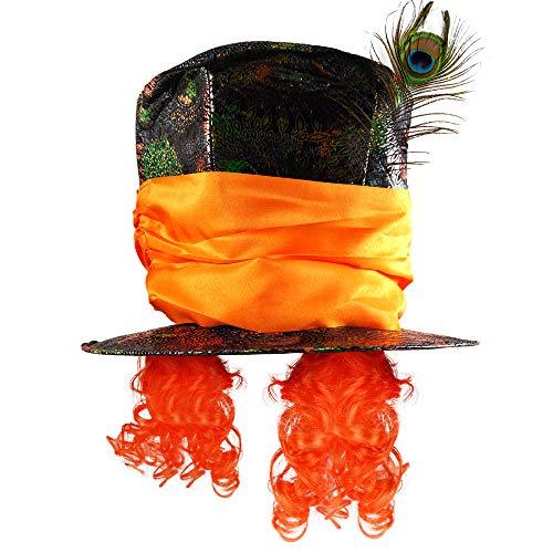 German Trendseller® Der Verrückte Hutmacher- Hut - Premium - Deluxe -┃ Universalgröße ┃ Hut und Haare ┃ Karneval - Fasching | Wunderland - Hut