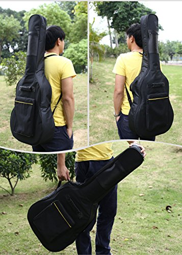 Sel Natural Full Size Acoustic Guitar Bag Double Straps Padded Guitar Soft Case Cover Gig Bag Backpack Black