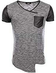 Carisma - Homme - T-Shirt slim fit stretch tendance col V 4230 noir