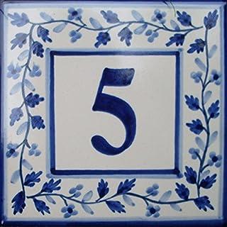 Azul'Decor35 Teller Nummerierung Haus gemalt von Hand Fayencen - 15x15x0,5cm - Wählen Sie Ihre Nummer!