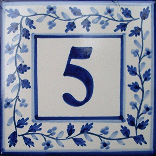 Azul'Decor35 Teller Nummerierung Haus gemalt von Hand Fayencen – 15x15x0,5cm - Wählen Sie Ihre Nummer!
