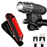 LED Fahrradbeleuchtung , AngelaKerry Fahrradlicht USB Wiederaufladbare Frontlicht und Rücklicht Set, LED Wasserdichte Fahrradlampe Set, 300Lumen 4/6 Licht-Modi Licht für Fahrrad