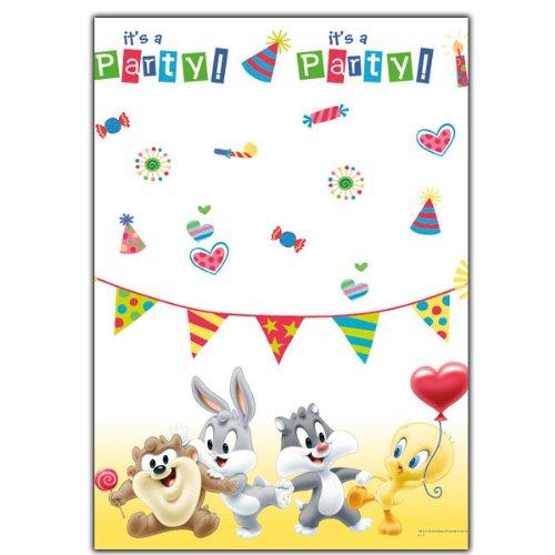 Tovaglia di carta monouso baby looney tunes 120x180 cm per feste