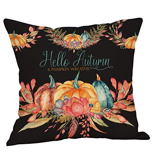 LILIGOD Halloween Kissenbezug Home Auto Bett Sofa Dekorative Kissenbezug Brief Kürbis-Muster Kissenbezug Leinen Kissenbezug -