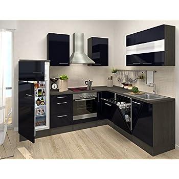 Respekta premium l form winkel küche küchenzeile eiche schwarz 260x200cm ceran umluft