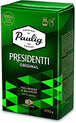 Paulig Presidentti Kaffee Gemahlen - Master Mischung aus 100% Arabica-Bohnen - Vollmundige Röstung Stufe 3 - Perfekte Aromabalance - Premium Qualität im 500g Beutel