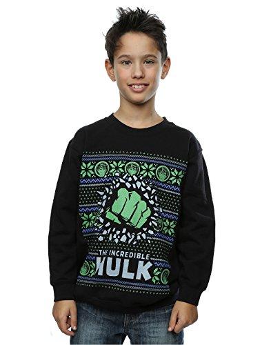 Marvel Jungen Hulk Fair Isle Christmas Sweatshirt 7-8 Years Schwarz (Jungen-fair-isle-pullover)