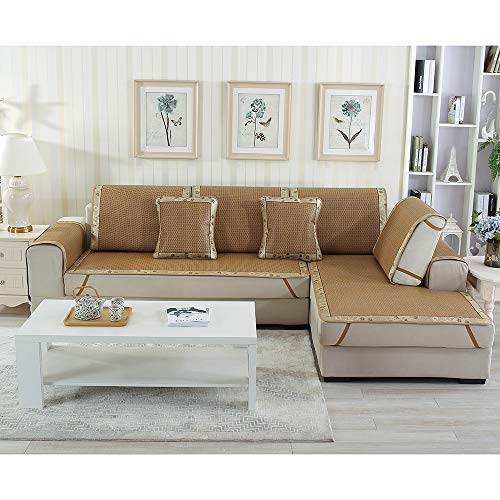 Rattan Sofa Cover Schonbezug, rutschfeste Couch Cover Möbel Protector Sectional, Sommer Schlafmatte, Sofakissen Handtuch for Wohnzimmer, Lounge Chair Cover, Sommer Dekor ( Size : 80x120cm/32