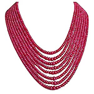 SURATDIAMOND 365 Cts 8 Line Real Ruby Beads Necklace
