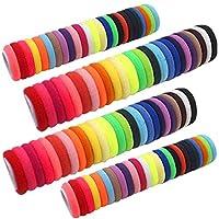 ربطة شعر للبنات الصغار من Aivo برباط مطاطي بدون خياطة على شكل ذيل حصان للأطفال الصغار (100 قطعة)