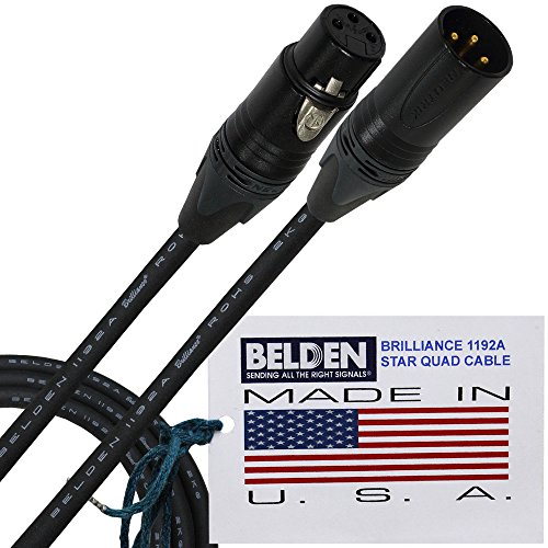 6Meter–Belden Brilliance 1192A (Made in USA)–PREMIUM STAR QUAD-HD Symmetrisches Mikrofon Kabel mit Neutrik Gold XLR-Stecker