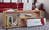 VCM Couchtisch Sofatisch Wohnzimmertisch Beistelltisch Wohnzimmer Tisch Buche/Weiß 43 x 110 x 40 cm