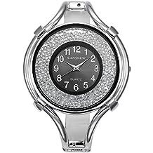 JSDDE Women's Fashion Rhinestone Bangle Dress Watches, Big Case Black ArabicNumerals Dial Bracelet Quartz Wrist Watch