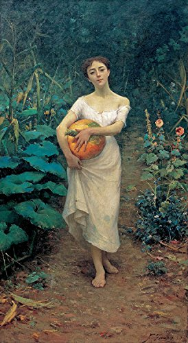 """Price comparison product image ODSAN Kabak Tayan Genç Kz,  Young Girl Carrying A Pumpkin - Fausto Zonaro - Canvas Prints 24"""" by 44"""" Unframed"""