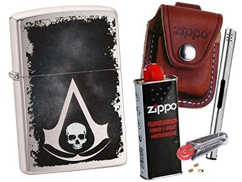 Zippo Assassin´s Creed Skull + Zippo Pouch mit Zippo Zubehör und L.B Chrome Stabfeuerzeug (mit Loop Braun Pouch)