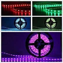 Salcar 5m de Cinta LED Tira RGB con 300 LEDs (SMD5050), clase de protecci¨®n contra agua IP67, 16 mezclas de colores elegibles, incluye un control remoto infrarrojo de 24 botones, Controlador y un adaptador de 12V 60W