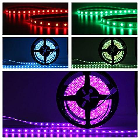 Salcar 5m RGB LED Lichtschlauch mit 300 LEDs (SMD5050), IP67 wassergeschützt/wasserdicht/außen, inkl. 24 Tasten IR Fernbedienung, Controller und 12V 60W Netzteil, 16 Farben