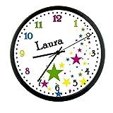 CreaDesign Kinder Wanduhren lautlos | Uhr mit (Wunsch) Namen | Kinderuhr Coole Deko fürs Kinderzimmer | Ideal für Mädchen und Jungen | Motiv Sterne