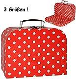 alles-meine.de GmbH 1 Stück _ Koffer / Kinderkoffer - KLEIN -  Punkte - rot & weiß  - 20 cm - ideal für Spielzeug und als Geldgeschenk - Mädchen & Jungen - Pappkoffer - Puppenk..