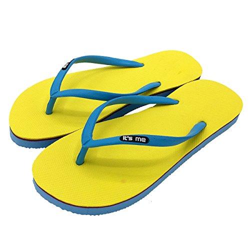 its me It´s Me | Flip Flop | Jetzt Aus Natur-Kautschuk | 0% PVC | Rutschfest und Weich | gesundheitlich unbedenklich | Kautschuk Passt Sich der Form Deines Fußes An | Fühle Den Unterschied ! gelb / blau